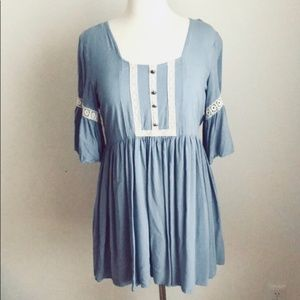 Altar'd State Blue Babydoll Boho Lace Tunic Top